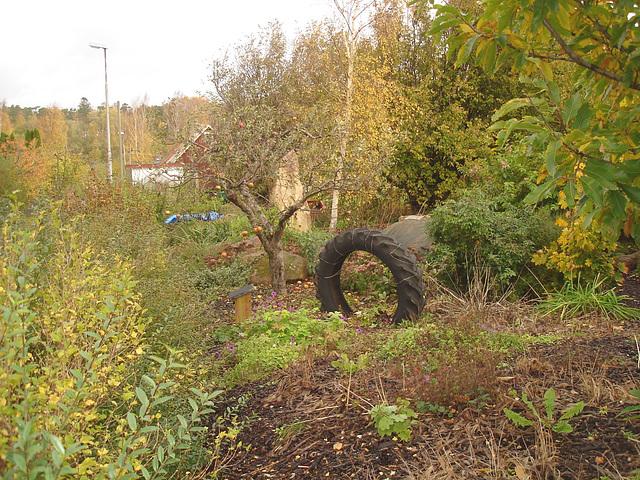 Pneu décoratif parmi la verdure suédoise / Tyre among the swedish  greenery - Båstad  /  Suède - Sweden.   21-10- 2008.