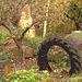 Pneu décoratif parmi la verdure suédoise / Tyre among the swedish  greenery - Båstad  /  Suède - Sweden.   21-10- 2008.  Postérisation