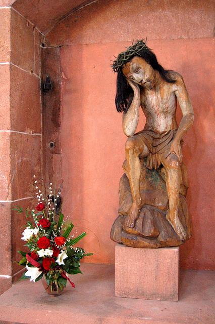 Jesuo rigardas florbukedon - Jesus, einen Blumenstrauß betrachtend