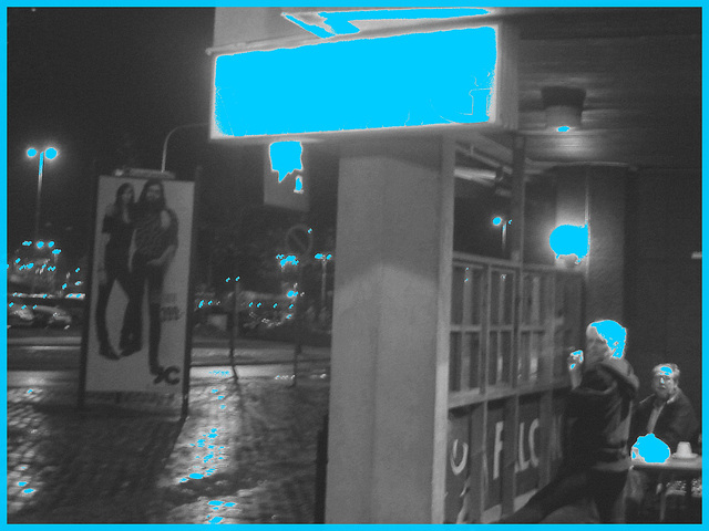 Pub & restaurang Viking  /   Helsingborg - Suède / Sweden.  22 octobre 2008  -  N & B et éclairage bleu