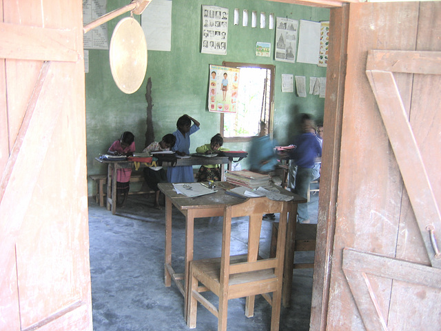 Looking into the classroom
