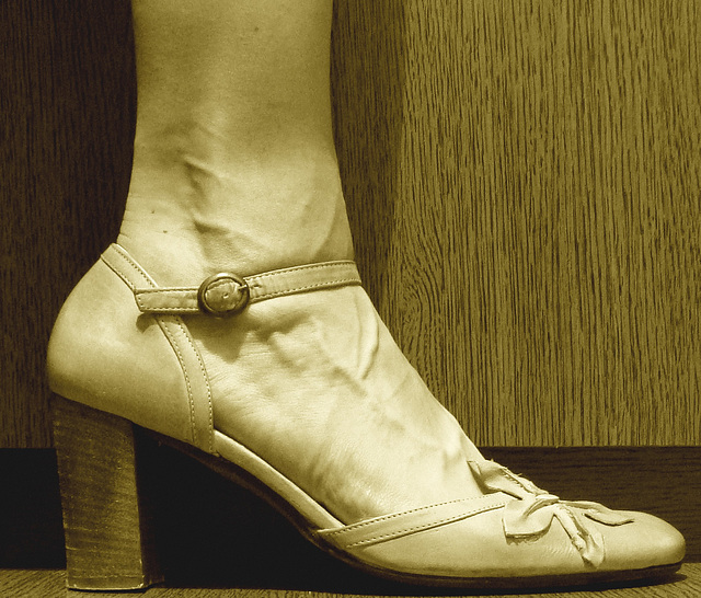 Une fille / A girl -  Cadeau talons hauts d'une amie Ipernity  /  High heels gift from an Ipernity friend  - Sepia