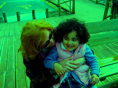 Rafaela & grandma, bench talk