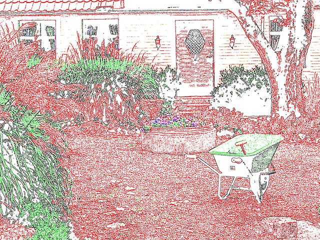 Brouette et maison coquette / Wheelbarrow and cute swedish house - Båstad /  Sweden  - Suède.  21-10-2008   - Contours de couleurs / colorful outlines