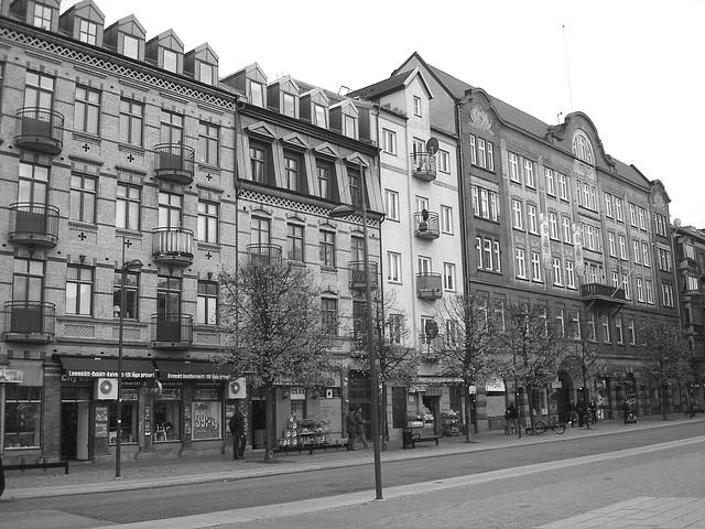Façade typique de l'architecture Viking / Allfrûkt Swedish architectural façade - Noir et blanc / Black in white