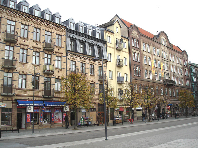 Façade typique de l'architecture Viking /  Allfrûkt Swedish architectural façade - Helsingborg / Sweden- Suède.  22 octobre 2008