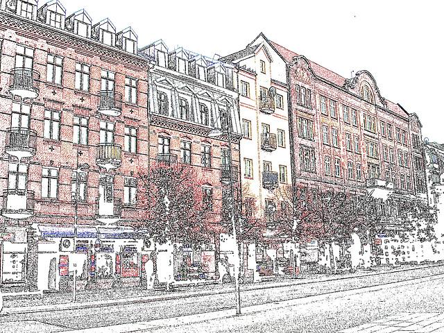 Façade typique de l'architecture Viking /  Allfrûkt Swedish architectural façade - Helsingborg / Sweden- Suède.  22 octobre 2008 - Contours de couleurs / Colourful outlines artwork