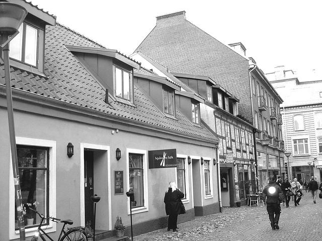 Midi !  L'heure de la perspective de ruelle suédoise  /  Noon time by the perspective scenery - Helsingborg - Suède / sweden.  22 octobre 2008- N & B  /  B & W
