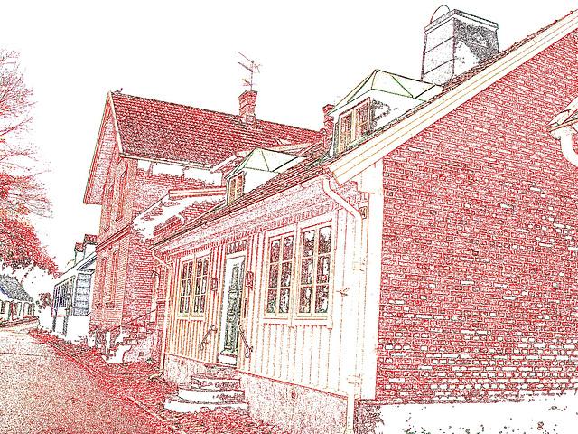 Maison / House No-14  - Båstad  / Suède - Sweden.  21-10-2008 -  Contours de couleurs ravivées