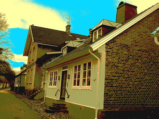 Maison / House No-14  - Båstad  / Suède - Sweden.  21-10-2008 -  Sepia postérisé avec bleu ajouté