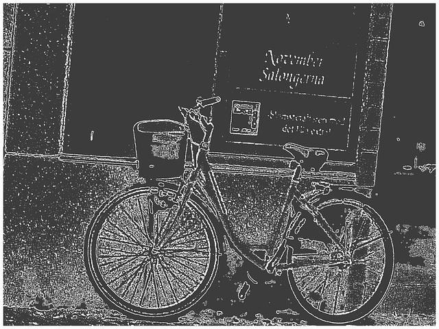 Vélo suédois de Novembre Salongema /  November Salongerna swedish bike -  Ängelholm  /  Suède - Sweden.   23 octobre 2008 - Craie blanche / White clak artwork