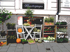 Délice visuel d'un trottoir Blomsterganten /  Blomsterganten sidewalk display - Postérisée