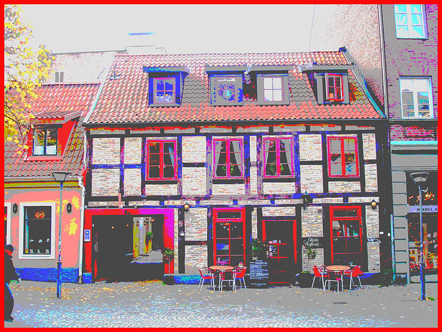 Olsons cafe -  Helsingborg / Suède - Sweden.   22 octobre 2008 - Postérisée en couleurs bonbons /  Candy colours