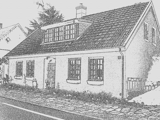 Maison /  House  No-50.   Båstad -  Suède  /  Sweden.  21-10-2008 - Mine de plomb - Lead artwork