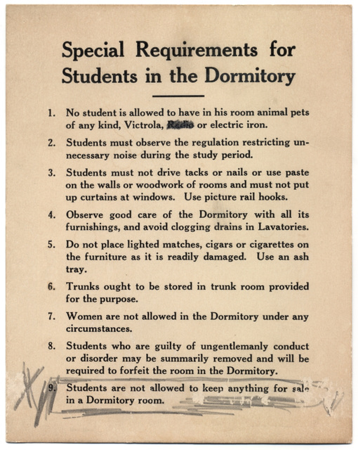 Special Requirements for Students in the Dormitory
