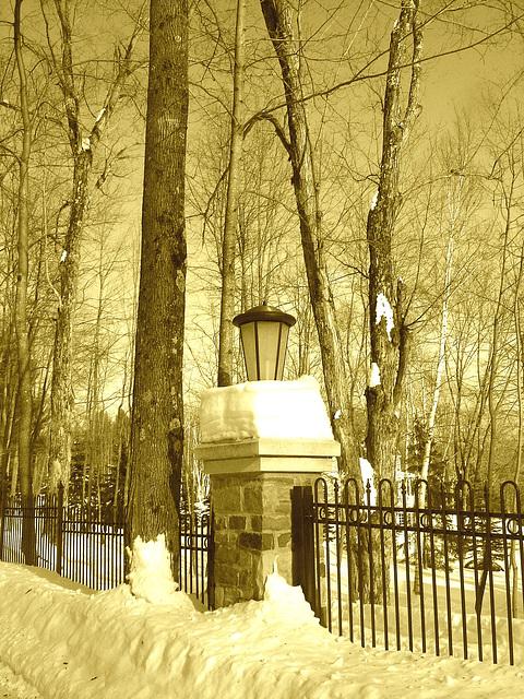 Paysages d'hiver à proximité de l'abbaye de St-Benoit-du-lac au Québec .  7 Février 2009-  Sepia