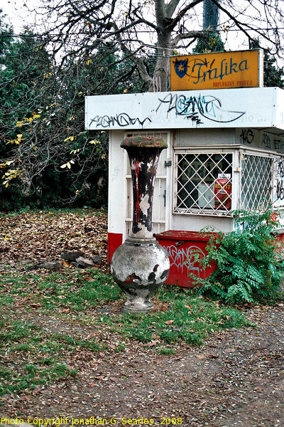 Old Trafika and Smokestack (?) at Nadrazi Hostivar, Prague, CZ, 2008