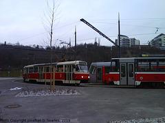 DPP #8244 with Other Trams at Radlicka, Prague, CZ, 2009