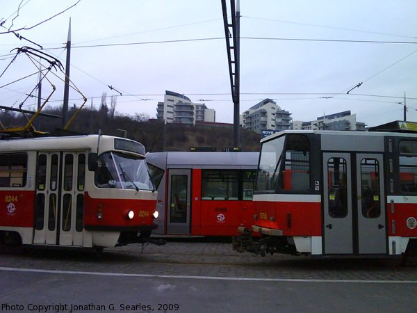 DPP #8244 with 9150 and 8750 at Radlicka, Prague, CZ, 2009