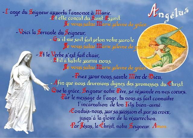 Angelus, calligraphie de Sœur Marie