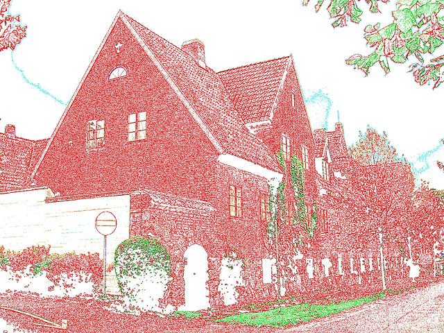 Maison  Skanegarden house - Båstad / Suède - Sweden.  21-10-2008 - Contours de couleurs ravivées