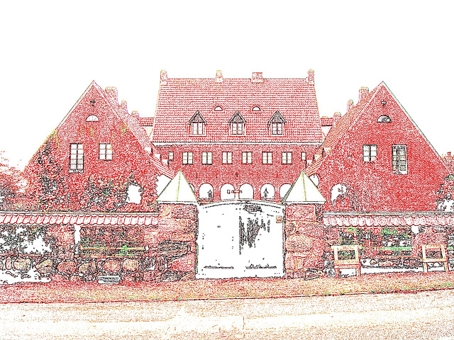 Noblesse architecturale /  Castle style building- - Båstad.  Suède / Sweden - 21-10-2008 - Colourful outlines / Contours de couleurs