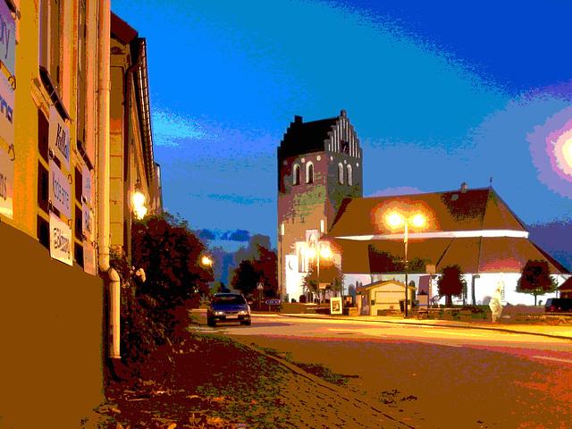 Église & cimetière de soir - Båstad -  Suède /  Sweden - Postérisation  photofiltrée