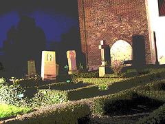 Église & cimetière de soir - Båstad -  Suède /  Sweden.   Octobre 2008 - Postérisation photofiltrée