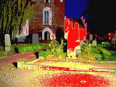 Église & cimetière de soir - Båstad -  Suède /  Sweden.   Octobre 2008 - Postérisation sanguinolente /  Stained with blood artwork.