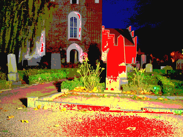 Église & cimetière de soir - Båstad -  Suède /  Sweden.   Octobre 2008 - Postérisation sanguinolente /  Stained with blood artwork.