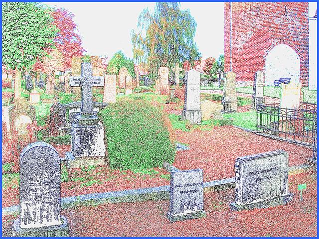 Cimetière de Båstad  /   Båstad  cemetery - Suède / Sweden - 22 octobre 2008 - Photofiltre- Contours en couleur.