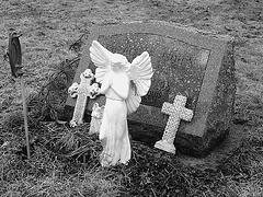 Mountain view cemetery. Saranac lake area.  NY. USA . March 29th 2009 - B & W