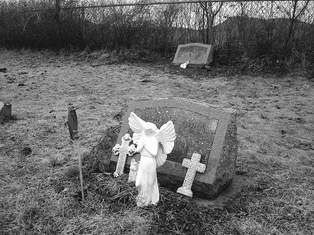 Mountain view cemetery. Saranac lake area.  NY. USA . March 29th 2009 -B & W