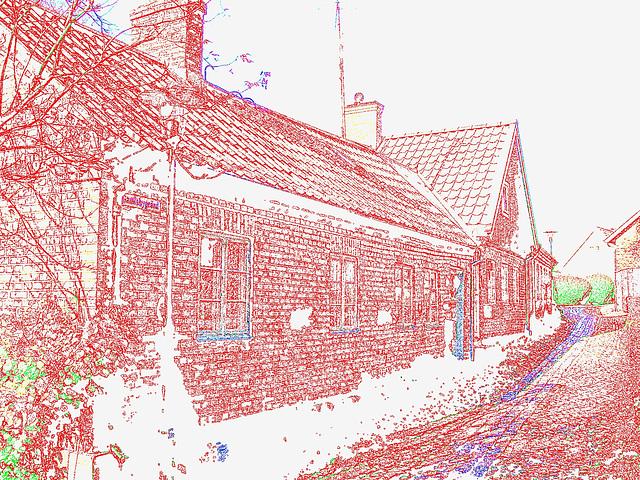 Gamblebygränd house /  Le carrefour Gamblebygränd  -  Laholm / Sweden - Suède.  25 octobre 2008- Contours de couleurs ravivées