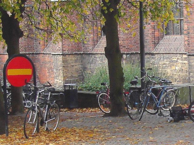 Église et vélos /  Church & bikes scenery  -  Helsingborg / Suède - Sweden.  22 octobre 2008-  Peinture à l'huile / Oil painting artwork