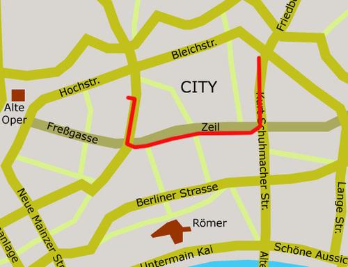 Karte Signalements im Stadtraum von Cornelia Heier. Mai 2002