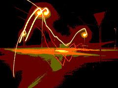 Lampadaires en folie !  Twilight zone street lamps.  Båstad / Suède - Sweden -  Postérisation