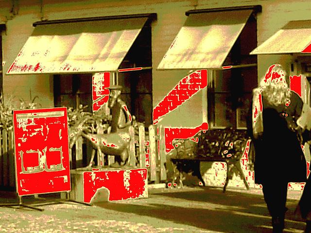 Banc et sculpture bancaire / SEB bench & sculpture welcoming scenery -  Båstad /  Suède - Sweden.  23 octobre 2008- Sepia avec rouge ajouté