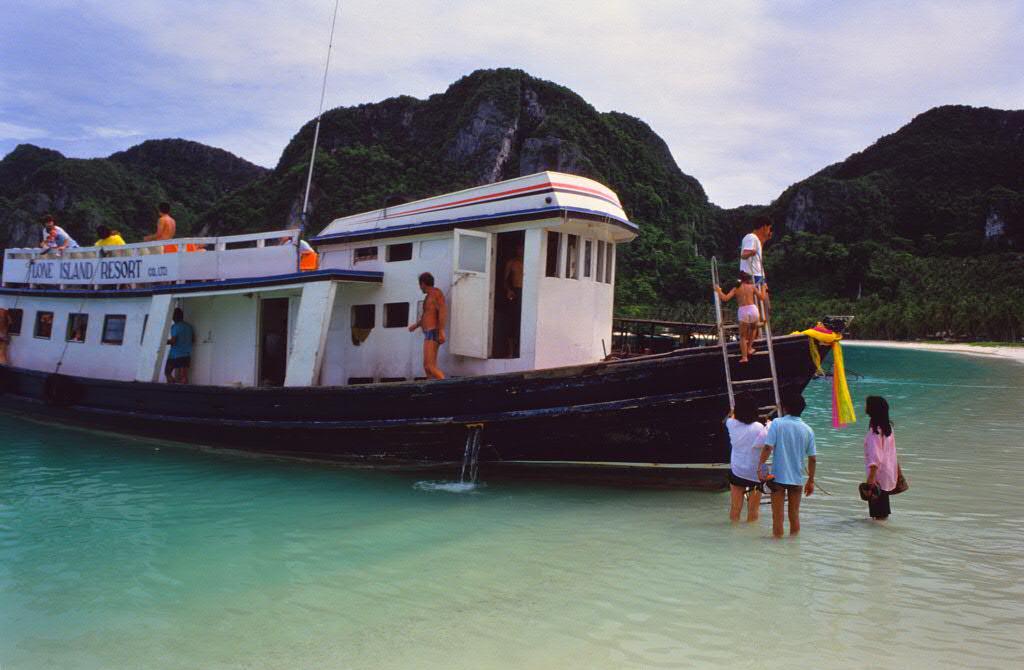 Arriving Ao Ton Sai at Koh Phi Phi Don 1987