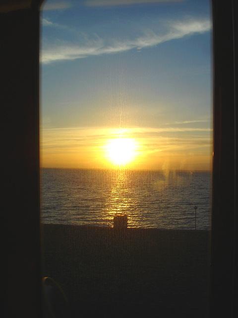 Coucher de soleil - Sunset - Train Ängelholm - Båstad.  21-10-2008