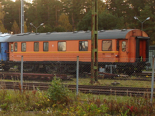 Wagon de train suédois /  Swedish train wagon -  Ängelholm / Suède - Sweden - 23 octobre 2008