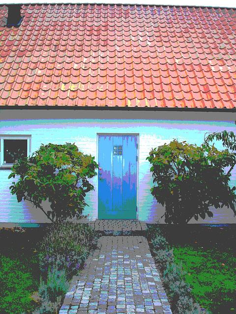 La maison à la porte bleue - Blue door house -  Båstad /  Suède - Sweden.  21-10-08  Postérisée