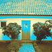 La maison à la porte bleue - Blue door house -  Båstad /  Suède - Sweden.  21-10-08 - Sepia en effet de négatif