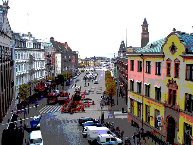 Du haut des escaliers menant à la Tour Viking / From the top of the tower stairs.   Helsinborg / Suède - Sweden.   22 octobre 2008 - Version postérisée