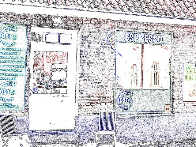 Espresso window area - Zone de la fenêtre expressive -  Båstad  /  Suède - Sweden.   25 octobre 2008 - Contours de couleurs ravivées.
