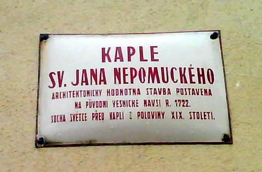 Plaque on Kaple sv. Jana Nepomuckeho, Radlicka, Prague, CZ, 2009