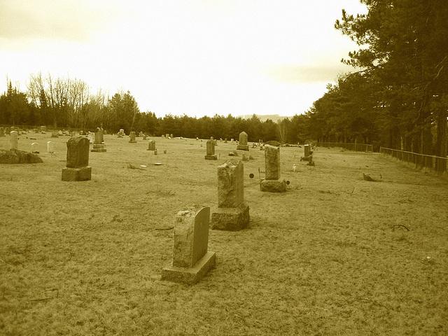Cimetière américain typique /  Mountain view cemetery. Saranac lake area.  NY. USA . March 29th 2009- Sepia