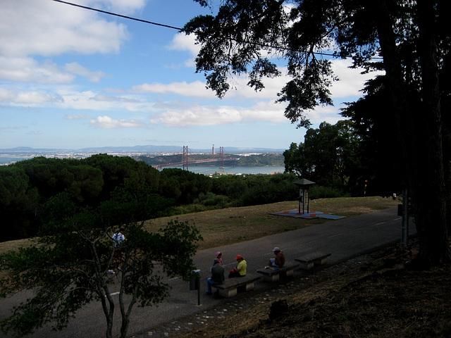 Lisboa, Bridge 25th April, seen from Park of Monsanto