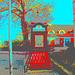 Cabine téléphonique /  Rikxtelefon booth.  Båstad.  Suède / Sweden.   Octobre 2008 -  Postérisation + couleurs ravivées
