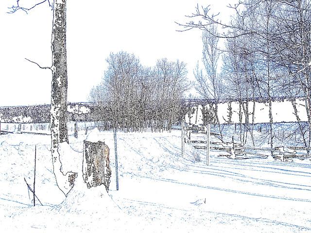 Paysages d'hiver à proximité de l'abbaye de St-Benoit-du-lac au Québec .  7 Février 2009 - Contours de couleur